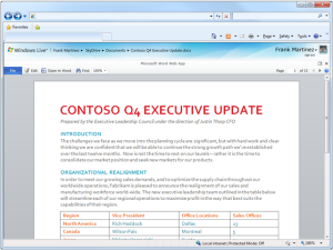 Microsoft Office 2010 web apps